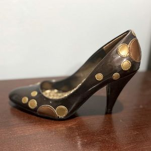 Unlisted Brown and Gold Polka Dot Heels